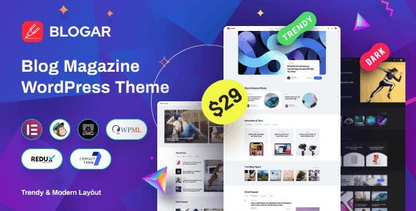 Blogar v1.0.2 – Blog Magazine WordPress Theme