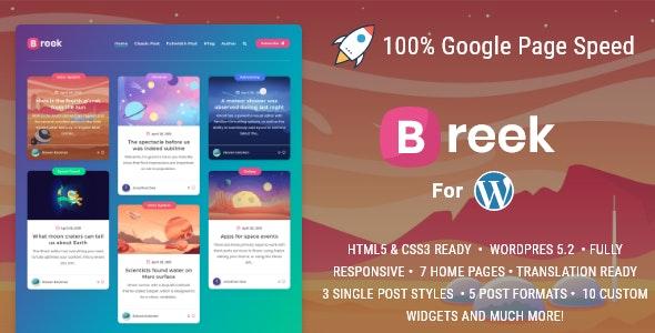 Breek v3.6.6 – Minimal Masonry Theme for WordPress