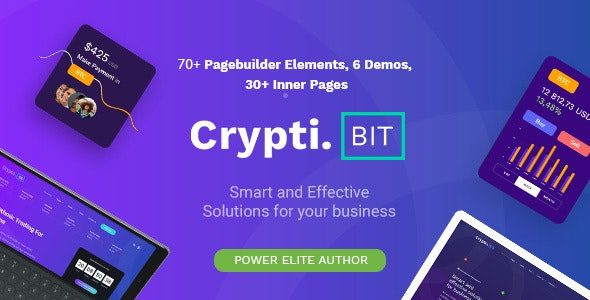 CryptiBIT v1.3 – Technology, Cryptocurrency, ICO/IEO Landing Page WordPress theme