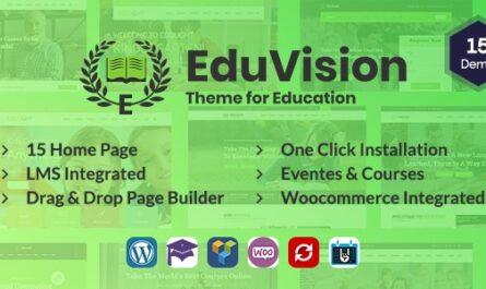 Eduvision v1.0 – Online Course Multipurpose Education WordPress Theme