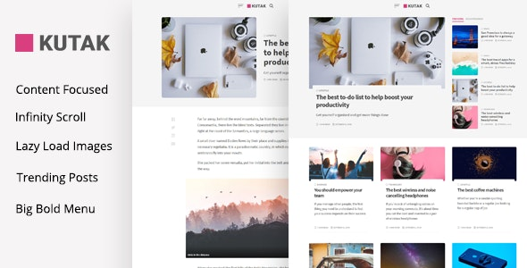 Kutak v2.2 – Minimal Blog WordPress Theme