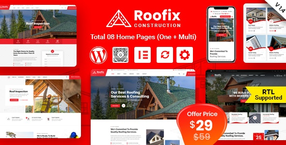 Roofix Nulled v1.4.5 - Roofing Services WordPress Theme -...
