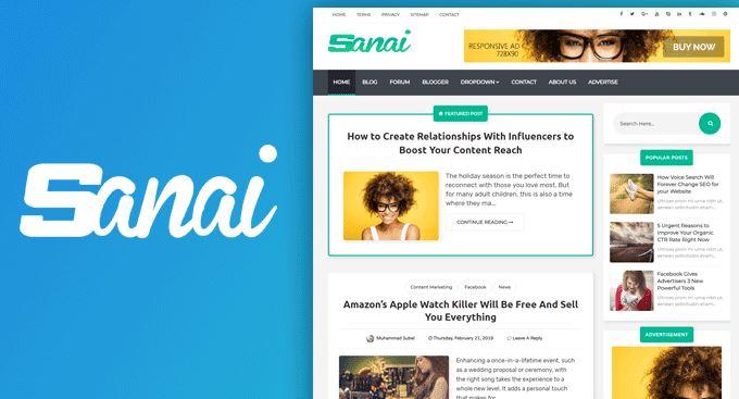 Sanai High Quality Responsive Blogger Template