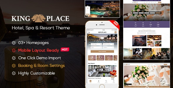 KingPlace v1.2.4 – Hotel Booking, Spa & Resort WordPress Theme (Mobile Layout Ready)