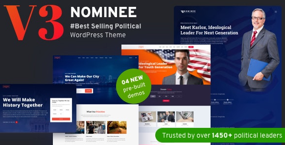 Nominee v3.4.0 – Political WordPress Theme for Candidate/Political Leader
