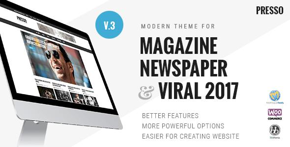 Presso 3.3.11 – Modern Magazine / Newspaper / Viral WordPress Theme